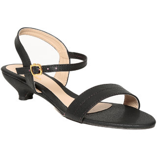 Lovely Chick Womens Black Round Toe Heel Sandals
