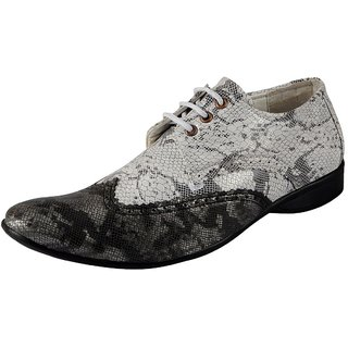 Fausto MenS Black,White Formal Lace-Up Shoes
