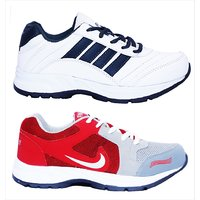 Combo Of Finley White  Blue + Finley Red   White Sport Shoes