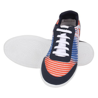 KaceyS Sneakers With Orange, Blue And White Color With White Sole Shoes For Unisex Size- 6