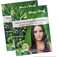 MaxxPro Herbal Hair Darkening Shampoo Instant Black In 5 Minutes Pack Of 10 Hair Color Sachet (Black)