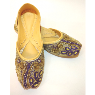 Ethnic Ladies Jutti With Moti And Thread Work (Blue Color) For Womens.