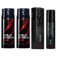 Wild Stone Ultra Sensual Deodorant, 150ml(2 Pic)  Axe Signature Intens Body Perfume, 122ml