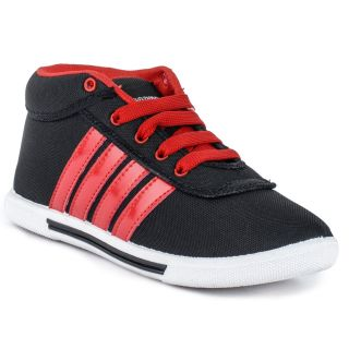 BAAJ Red  Black Canvas Lifestyle Casual Shoes BJ394