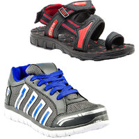 Combo Of Provogue Grey Blue Running Sports Shoes And Provogue Black Red Sandal