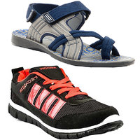 Combo Of Provogue Black Red Running Sports Shoes And Provogue Grey Blue Sandal
