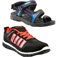 Combo Of Provogue Black Red Running Sports Shoes And Provogue Blue Black Sandal