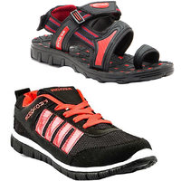 Combo Of Provogue Black Red Running Sports Shoes And Provogue Red Black Sandal
