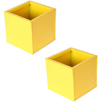 Cubo S Yellow Square Decorative Metal Planter Set Of 2