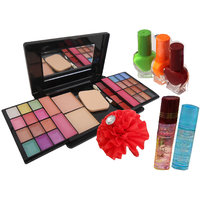 Fashion Colour Make-Up Kit With 3 Pc Water Proof Nail Polish And 2 Pc Lip Gloss