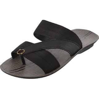 Axtry Mens Casual Black Slippers (ALFA 4 BLACK)