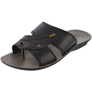 Axtry Mens Casual Black Slippers (APPLE 1 BLACK)