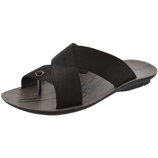 Axtry Mens Casual Black Slippers (ALFA 2 BLACK) - 94141716