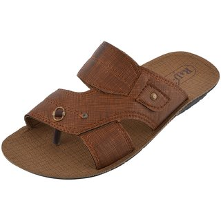 Axtry Mens Casual Tan Slippers (APPLE 5 TAN)