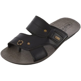 Axtry Mens Casual Black Slippers (APPLE 5 BLACK)
