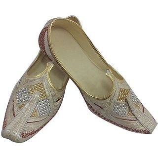 Skylyf Cream Stone Ethnic Mojari Mozari Jutti Juti Jooti Footwear