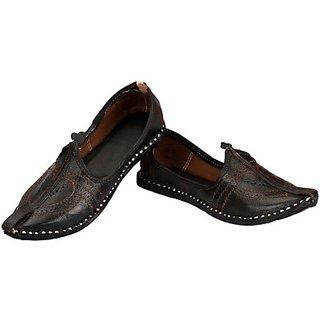 Skylyf Black Leather Ethnic Mojari Mozari Jutti Juti Jooti Footwear