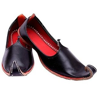 Skylyf Black Punjabi Leather Ethnic Mojari Mozari Jutti Juti Jooti Footwear