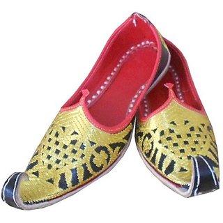 Skylyf Yellow Punjabi Leather Ethnic Mojari Mozari Jutti Juti Jooti Footwear