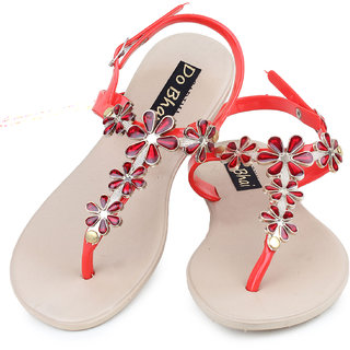 Do Bhai WomenS Red Casual Sandals