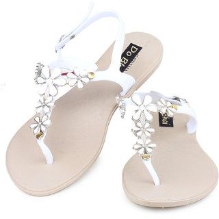 Do Bhai WomenS White Casual Sandals