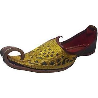 Skylyf Yellow Punjabi Khussa Ethnic Mojari Mozari Jutti Juti Jooti Footwear - 94552857