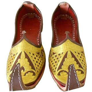 Skylyf Yellow Punjabi Khussa Ethnic Mojari Mozari Jutti Juti Jooti Footwear