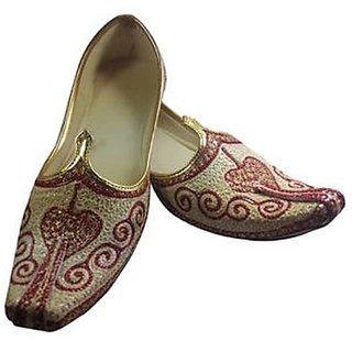 Skylyf Cream Wedding (dilwali Printed) Ethnic Mojari Mozari Jutti Juti Jooti Footwear