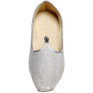 Skylyf Silver Shining Ethnic Mojari Mozari Jutti Juti Jooti Footwear