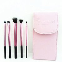 Real Techniques Makeup Brush, Pink Cosmetic Bag With Mirror 5 Pcs Brush Set