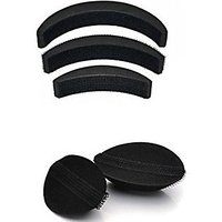 Hair Base Set Of 2 And Hair Puff Set Of 3 (Combo Of 5 Pieces) For Women, For Hair Styling And Hair Do