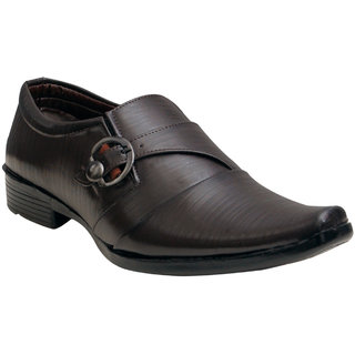 Oora Brown With Fine Lining Design  Buckle Party Wear Shoes