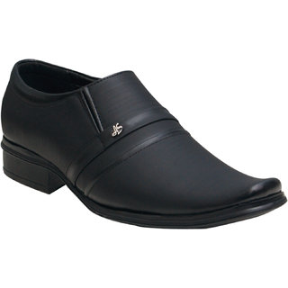 Oora MenS Black With Fine Lining Design Faux Leather Slip On Formal Shoes - 9
