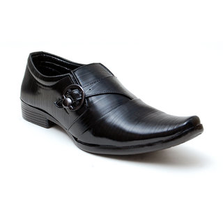 Oora Black With Fine Lining Design  Buckle Slip On Formal Shoes For Men