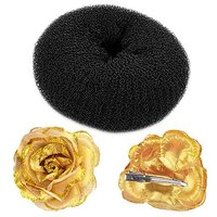 Combo Of Hair Donut And Clip On Golden Rose For Women, For Bun, For Hair Styling And Hair Do (DIY)