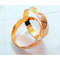 24k Micro Gold Plated Bangle Set 2 Pcs ) Size: 2.8 Partywear,Wedding,kada Bangle