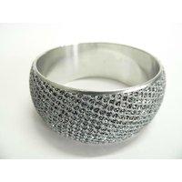 Beautiful Handmade Silver Toned Brass Bangle Bracelet