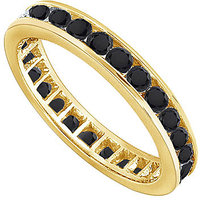 Lovebrightjewelry Black Diamond Eternity Band 14K Yellow Gold-1.00 Ct Diamonds