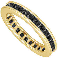 Lovebrightjewelry Black Diamond Eternity Band 14K Yellow Gold 3.00 Ct Diamonds