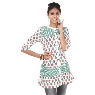 Rajrang Elegant Cotton Handmade Block Printed Halter Neck Top