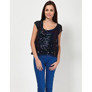 Kaxiaa Polyester Sequins Scoop Neck Blue Colored Top