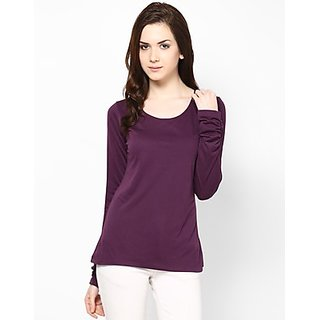 Kaxiaa Viscose Scoop Neck Purple Colored Top