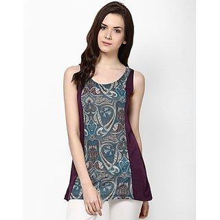 Kaxiaa Vicose Jersey Round Neck Purple Colored Tunic