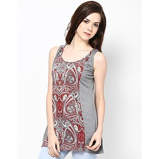Kaxiaa Vicose Jersey Round Neck Red Colored Tunic