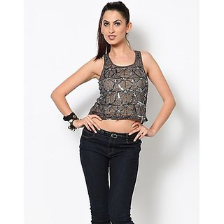 Kaxiaa Round Neck Sequins Silver Colored Top