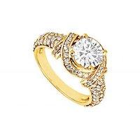 LoveBrightJewelry 14K Yellow Gold Diamond Engagement Ring 1.25 CT