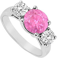 Sightly Three Stone Pink Sapphire And Diamond Ring In 14K White Gold