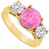 Alluring Three Stone Pink Sapphire And Diamond Ring In 14K Yellow Gold