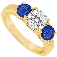 Beauteous Three Stone Sapphire And Diamond Ring In 14K Yellow Gold