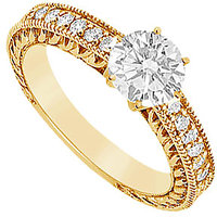 Lovebrightjewelry 14K Yellow Gold & Diamond Engagement Ring-0.75 Ct